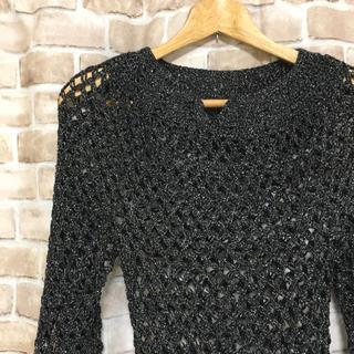 ブラックシルバー アミアミ ニット セーター 婦人系 ミセス系(ニット/セーター)
