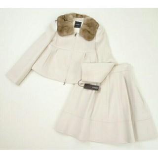 フォクシー(FOXEY)の美品♡フォクシー ミンク襟カシミヤ100%ジャケット&スカート(毛皮/ファーコート)