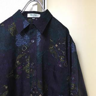 美品 90sデザイン古着 総柄アートシャツ  パープル紫 絵画芸術美術 メンズ