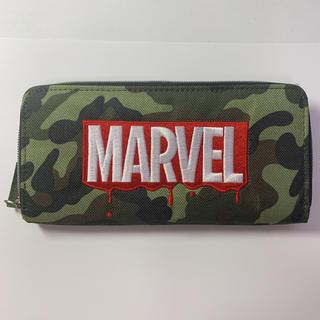 マーベル(MARVEL)の長財布 マーベル 迷彩 刺繍 ロゴ グリーン ゴールド 緑 黄緑 金(長財布)