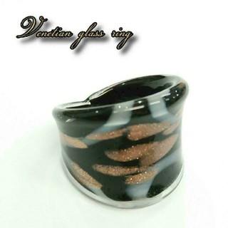 VR40 ブラック系 ベネチアン ガラス リング ベネチアリング 指輪(リング(指輪))