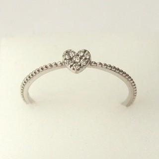 PonteVecchio - ポンテヴェキオ|ハートリング ミル K10WG×ダイヤモンド 指輪|美品