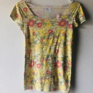 ウンナナクール(une nana cool)のLunch ランチ Tシャツ イエロー 黄色 柄 花柄(Tシャツ(半袖/袖なし))