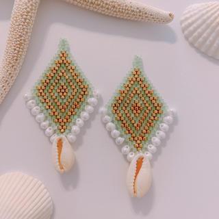ビーズ刺繍×カウリ イヤリングorピアス(イヤリング)