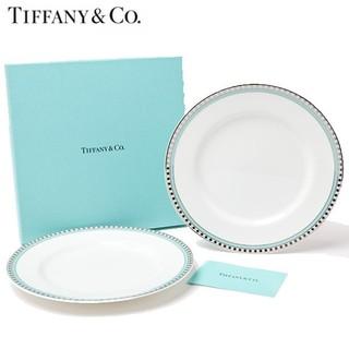 ティファニー(Tiffany & Co.)の【TIFFANY&CO.】ティファニープラチナブルーバンドプレートペア2枚セット(食器)