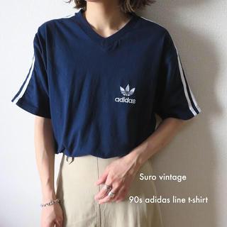adidas - 90s アディダス 刺繍 ライン tシャツ ネイビー 古着 レディース