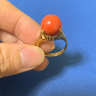 k18赤珊瑚リング(リング(指輪))