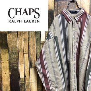 Ralph Lauren - 【激レア】チャップスラルフローレン☆ロゴタグ入りマルチストライプシャツ 90s