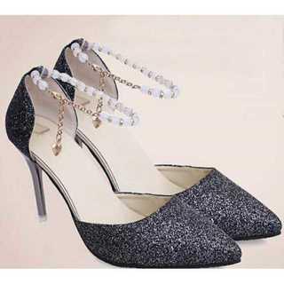新品送料込◆おしゃれパンプス◆ベルト付◆パーティ◆結婚式◆靴ブラック24.0cm(ハイヒール/パンプス)