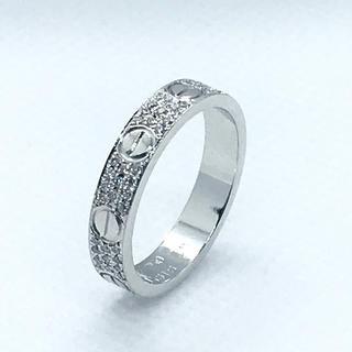 カルティエ(Cartier)の本物 カルティエ WG ミニラブリング パヴェ ダイヤ #48 8号 ダイア(リング(指輪))