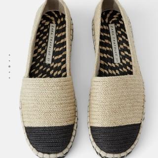 ザラ(ZARA)のZARAコントラストエスパドーリュフラットシューズ(ローファー/革靴)
