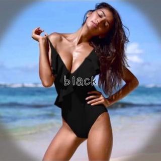 #Summer Sale(BLACK / L)ラッフル フロントワンピース(水着)