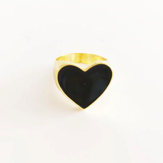 ザラ(ZARA)のハートリング ブラック No.515(リング(指輪))