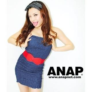 アナップ(ANAP)のANAP デニム シャーリング ミニ ベア ワンピース   (ミニワンピース)
