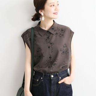 IENA - IENA【イエナ】☆ストライプフラワーノースリーブシャツブラウス 新品ブラウンA