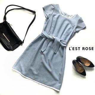 レストローズ(L'EST ROSE)のレストローズ/ワンピース ウエストリボン 水色 Mサイズ(ひざ丈ワンピース)