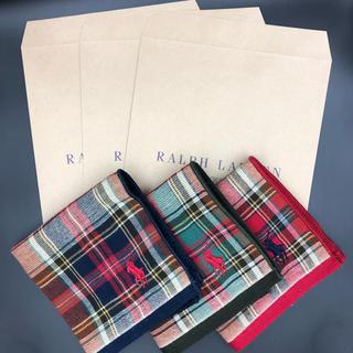 Ralph Lauren - 【新品 送料込】ラルフローレン ミニタオルハンカチ 3枚セット