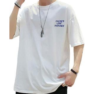 Tシャツ メンズ 五分袖   tシャツ カットソー 白 绵100%トップス