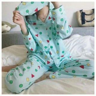 クレヨンしんちゃん 風 パジャマ 長袖 グリーン 緑 ルームウェア シャツ M