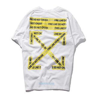 OFF-WHITE - OFF WHITE オフホワイト Tシャツ 白 半袖 警告デザイン サイズXL