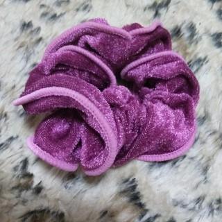 紫 シュシュ 髪留め ヘアゴム ヘアピン