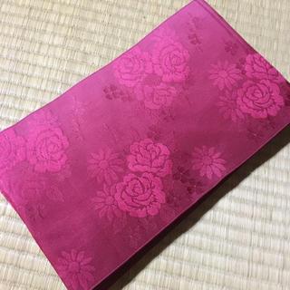 半幅帯 薔薇柄 ピンク 赤 浴衣 帯