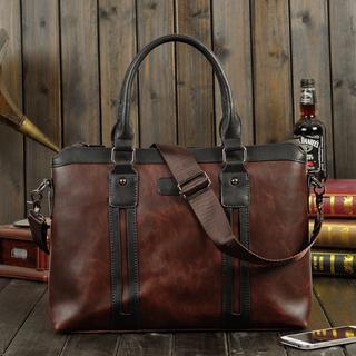 メンズ ビジネス ショルダーバッグ  高級crazy-horse レザー 鞄 新