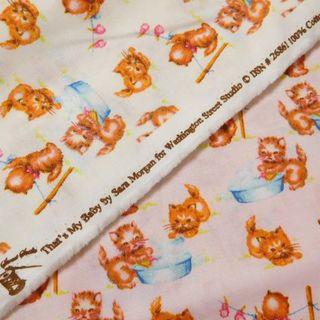 カットクロス2枚♣布 子猫 キャット ネコ 綿 約55×50cm ミルク ピンク