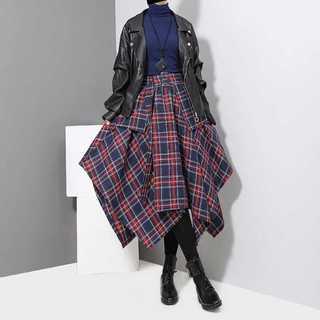 【LONDA】チェック柄アシンメトリーラップスカート(E-217)(ロングスカート)