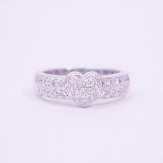 ポンテヴェキオ*リング ハート ダイヤモンド K18WG 指輪|極美品