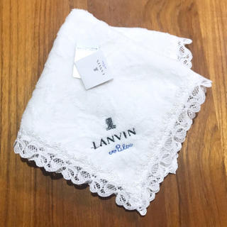 LANVIN en Bleu - 新品タグ付 ランバン タオルハンカチ ホワイト花柄 LANVIN en Bleu