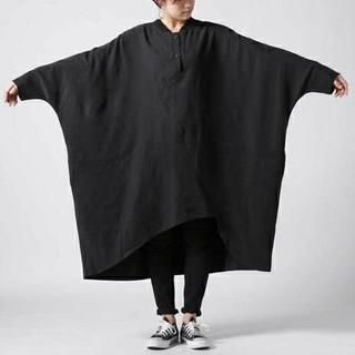 アンティカ(antiqua)のアンティカ KINU 未使用 ドレープドルマンビッグシャツ ロングワンピース(ロングワンピース/マキシワンピース)