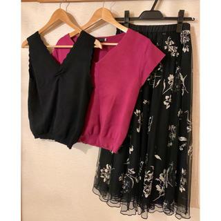 ココディール(COCO DEAL)の即完売✴︎紗栄子着用シフォンスカート、トップスセット(セット/コーデ)