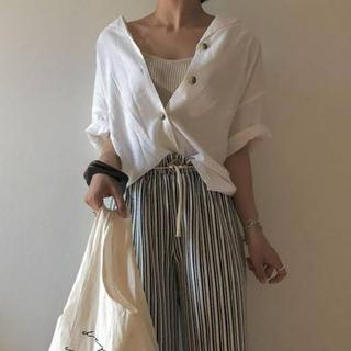 ジーユー(GU)のG.U. ジーユー リネンブレンドオープンカラーシャツ(シャツ/ブラウス(半袖/袖なし))