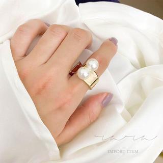 R01 / ダブルパール デザインリング(リング(指輪))