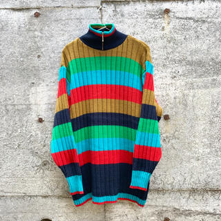 vintage マルチカラー レインボー タートルネック ニット セーター(ニット/セーター)