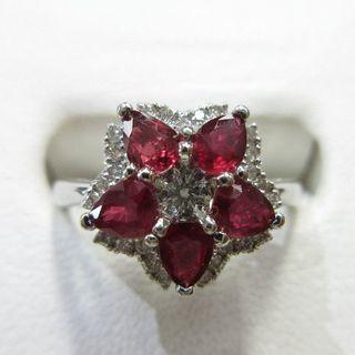 濃い赤ルビー合計5石約1ct◇プラチナ製指輪◇普段使いにも最適(リング(指輪))