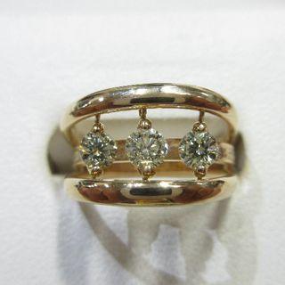 ブラブラ揺れる天然ダイヤモンド3石合計0.50ct◇K18ピンクゴールド製指輪(リング(指輪))