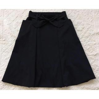 フォクシー(FOXEY)の★美品★FOXEY NY★おリボン スカート★38★ブラック★(ひざ丈スカート)