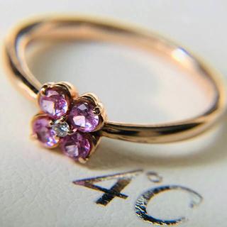 4℃ - k10 お花咲く ピンクゴールド 可愛い系リング