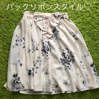 しまむら - 花柄スカート ひざ丈 リボン