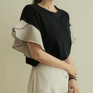 ディーホリック(dholic)のバイカラーフリル袖トップス(カットソー(半袖/袖なし))