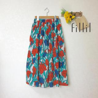 merlot - 新品✨ 木蓮の花プリント ギャザースカート