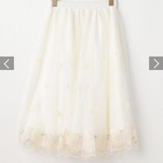 リズリサ 膝丈刺繍入りチュールスカート 花 ホワイト