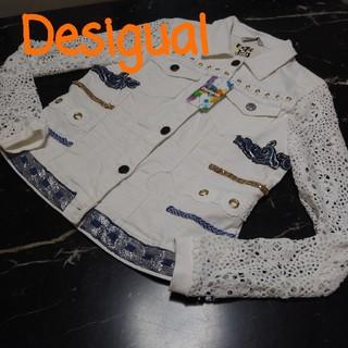 DESIGUAL - ♥️新品タグ付ホワイトデニムデシグアル♥️可愛クロッシェニットレース♣ストレッチ