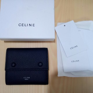 celine - 売り上げ CELINE  三つたたみ  折り財布 ブラックセリーヌ