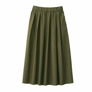 MUJI (無印良品) - 最新》無印良品ストレッチ高密度織りイージーギャザースカート/カーキグリーン/XL