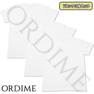 ★夏SALE 3枚セット Vネック Tシャツ ホワイト 100%綿 無地 半袖 (Tシャツ/カットソー(半袖/袖なし))