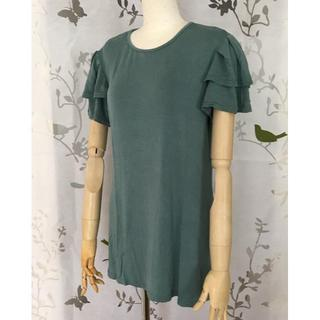 【新品】おしりすっぽり 袖フリル ロング Tシャツ チュニック グリーン(Tシャツ(半袖/袖なし))