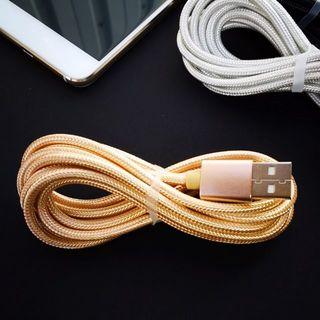 アンドロイド(ANDROID)のType-C 充電器ケーブル 2m ピンクとゴールド(バッテリー/充電器)